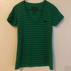 Volcom V Neck Tee Shirt Striped